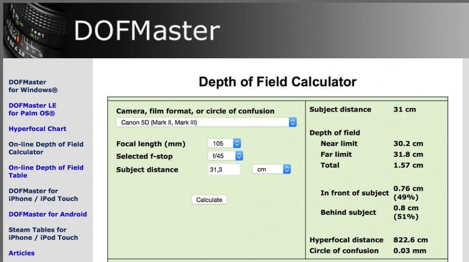 Calcul de la PDC à F/45