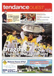 Les Dragons de Rouen, après leur sacre en Continental Cup, en Une du Tendance Ouest Rouen du 14 janvier 2016